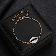 Simple and delicate shell bracelet Alloy plating drop glaze bracelet Bohemian golden shell jewelry Ladies chain bracelet