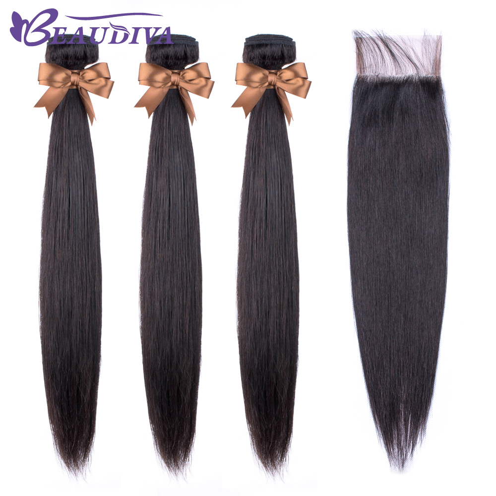 Beaudiva Hair Extension 100% Human Hair Bundles With Closure Brazilian Hair Weave 3 Bundles Straight Bundles With Lace Closure-in 3/4 Bundles with Closure from Hair Extensions & Wigs    1