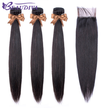 Beaudiva Hair-Extension Closure Straight-Bundles Brazilian-Hair with Weave