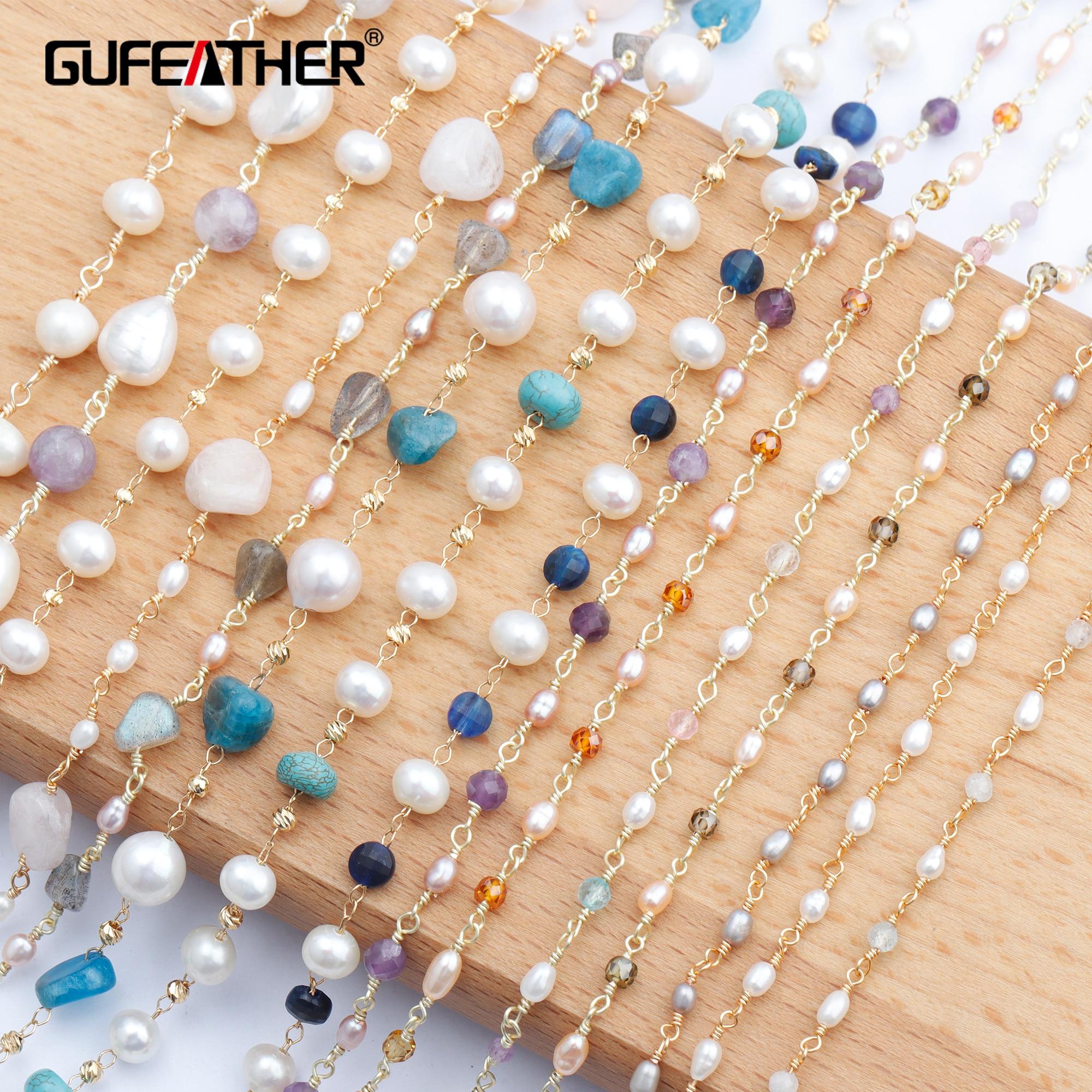 Guplume C80, accessoires de bijoux, chaîne de bricolage, plaqué or 18k, perle de pierre naturelle, fait à la main, fabrication de bijoux, collier de bricolage, 1 m/lot