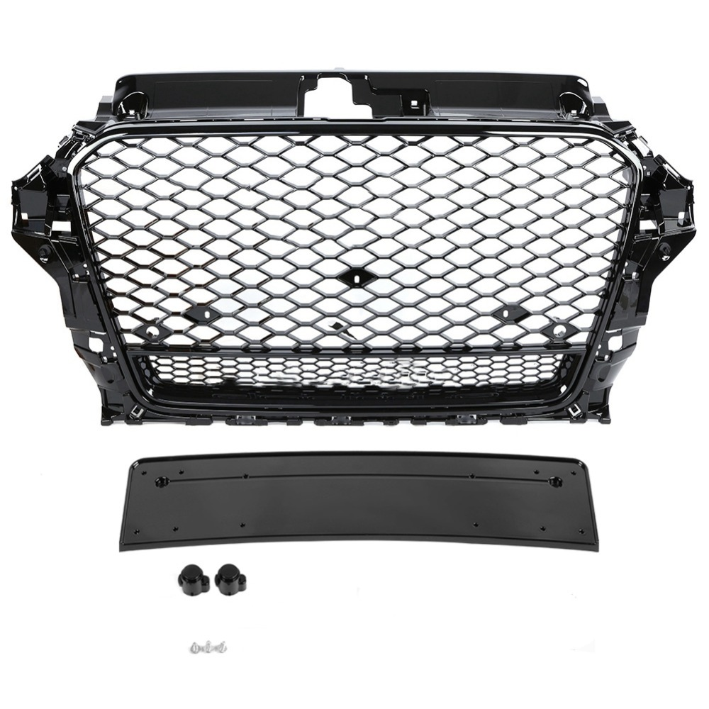1set ABS Radiator Chrome Front Sport Hex Mesh Hood <font><b>Grill</b></font> Gloss Black For <font><b>Audi</b></font> A3 <font><b>S3</b></font> 8V 2013 2014 2015 2016 For RS3 Quattro Style image