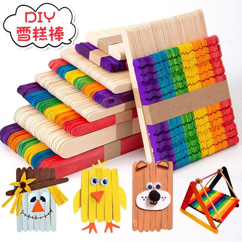 50 개/몫 어린이 DIY 공예 장난감 다채로운 자연 나무 스틱 계산 몬테소리 유치원 어린이 수학 교육 완구 계산
