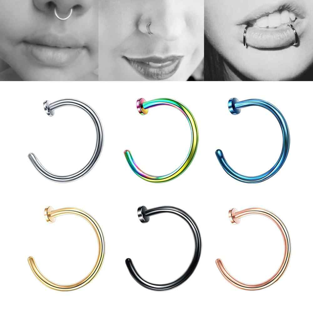 One Piece 6mm 8mm 10mm Colorful Fake Nose Piercing Ring Body