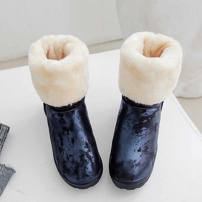 ASUMER 2020 yeni kar botları kadın yuvarlak ayak kayma düz orta buzağı çizmeler rahat sıcak kış çizmeler tutmak