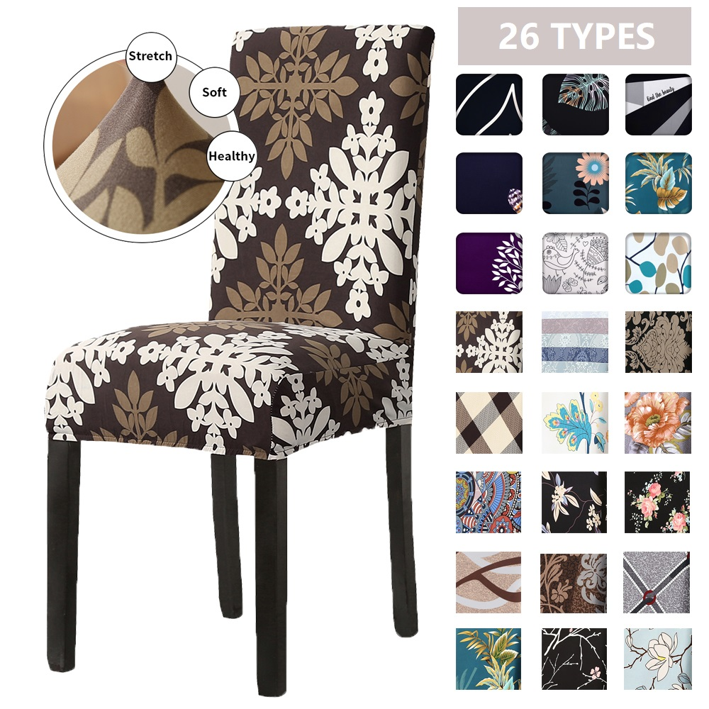1/2/4/6pcs Spring Printed Elastic Dining Chair Covers Spandex Stretch Chair Slipcovers Dust-proof Protector For Banquet Wedding