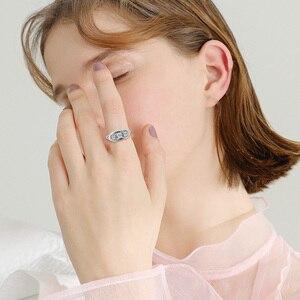 Image 2 - Szjinao Diamond Ringen Voor Vrouwen Zirkoon 3 Precious Stone Massif Edelsteen Ring Voor Vrouwen Carve Wedding Real Zilver 925 Sieraden