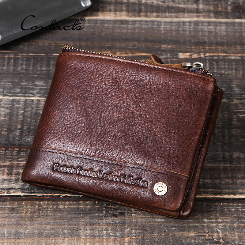 CONTACT'S 100% Genuine Leather Men Wallets Small Card Holder Money Bag For Man Coin Purse Portfolio Portemonnee Male Wallet Zip