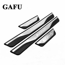 For hyundai kona 2018 2019 Accessories Door Sill Scuff Plate Guards Door Sills Protector Car styling 4pcs car door sill scuff plate for hyundai kona kauai 2018 stainless steel door sill protector sticker for new kona kauai