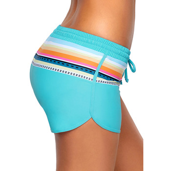New Style High-waisted Elastic Band Four Corners Swimming Trunks Women's Stripes Printed Contains Triangular Lining Beach Shorts