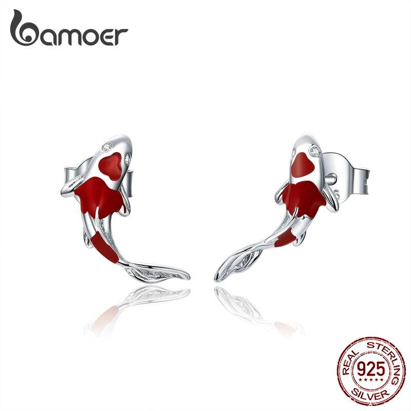 Bamoer Fish Red Enamel Stud Earrings For Women 925 Sterling Silver Spring Koi Ear Studs Festival Silver Fashion Jewelry SCE812