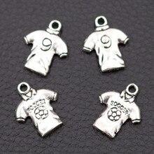 15pcs Soccer Jersey number Shirt Charm, Sports Shirts No. 9 Charms, Tibetan Silver Pendant 19*15mm