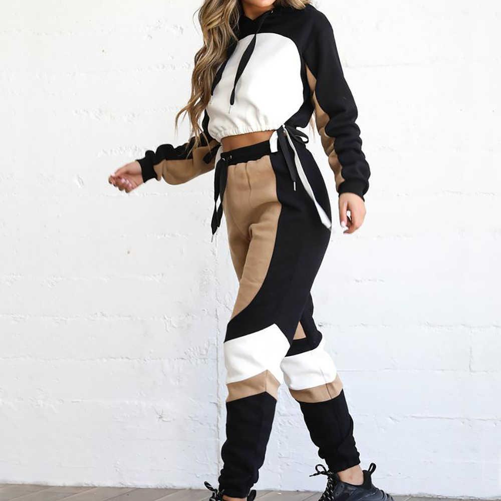 ジョギングフィットネストラックスーツセット女性 2019 秋冬厚みスエットシャツジム着用 Sweatpant カジュアルスポーツスーツ 2 個