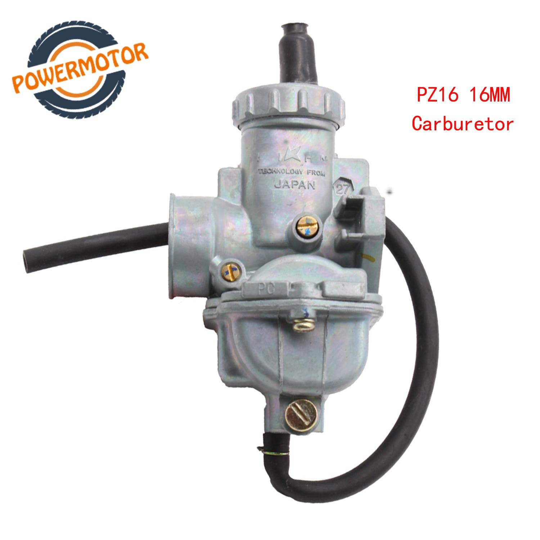Carburdor PZ16 carburateur à main 16mm | Carburateur à starter à main pour KEIHIN Honda Redcat 50cc 70cc 90cc ATV Quad Mini Bike