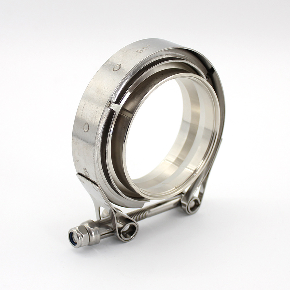 304 Stainless Steel V Band Pipe Flange Clamp Universal Silver For Exhaust Accessories Suitable For Most Pipelines 2.0inch-51mm