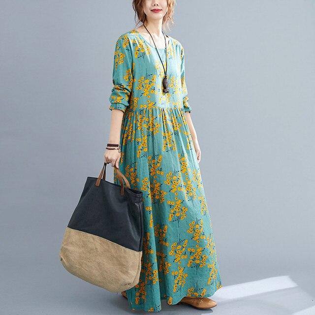 Cotton Loose Women Casual Spring Dress Long Sleeve Autumn Dress Plus Size Long Maxi Dress Print Floral Female Vintage Dress 3