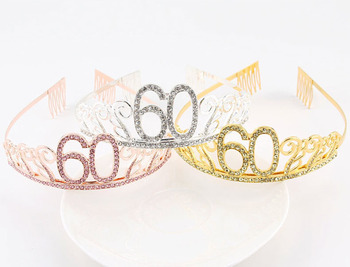 Birthday Tiara Crystal Rhinestone Crown Bridal Hair Accessories Plated Women Girl Headband for Party Wedding