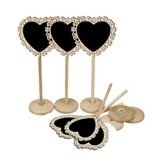5pcs/lot Cute Heart Lace Shape Small Blackboard Wedding Kitchen Restaurant Signs Chalkboard Writing Notice Message