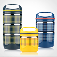 Stainless steel lunch box three-layer bowl-shape round durable Korean-style fall-proof printing logo anti-overflow decompression