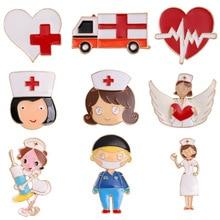 Nurse-Brooches Stethoscope Doctor Enamel-Pins Cartoon Small Electrocardiogram