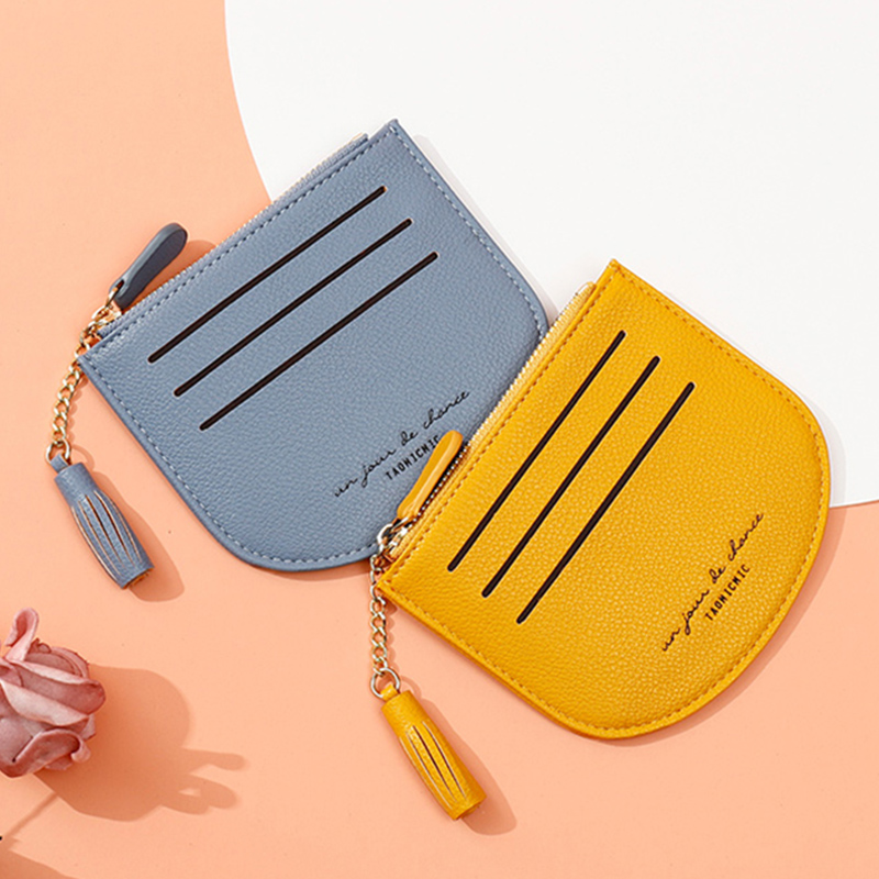 Brand Tassel Mini Wallet Women Soft Leather Ladies Business Credit Card Holder Coin Purse Pocket Small Zipper Wallets Female NEW