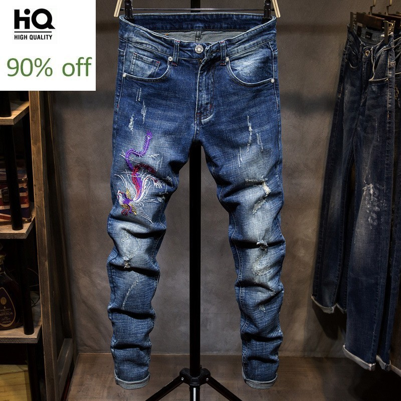 New Brand Mens Denim Trousers Fashion Mens Slim Fit Hole Ripped Jean Pants Male European Embroidered Straight Pants Plus Size