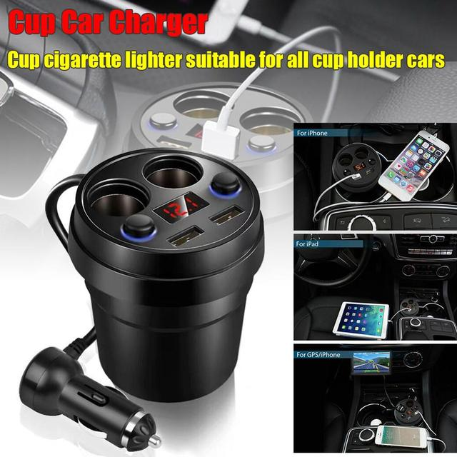 Creative Auto Charger 2 Usb Dc/5 V 3.1A Cup Stopcontact Adapter Sigarettenaansteker Splitter Mobiele Telefoon Laders led Display