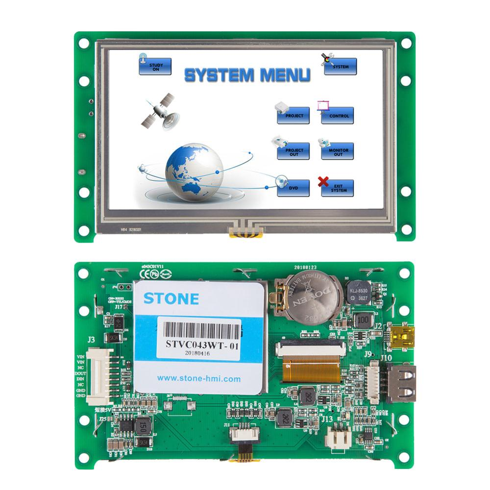 4.3 Inch New Product Touch Panel TFT Intelliget UART LCD Module UART Port
