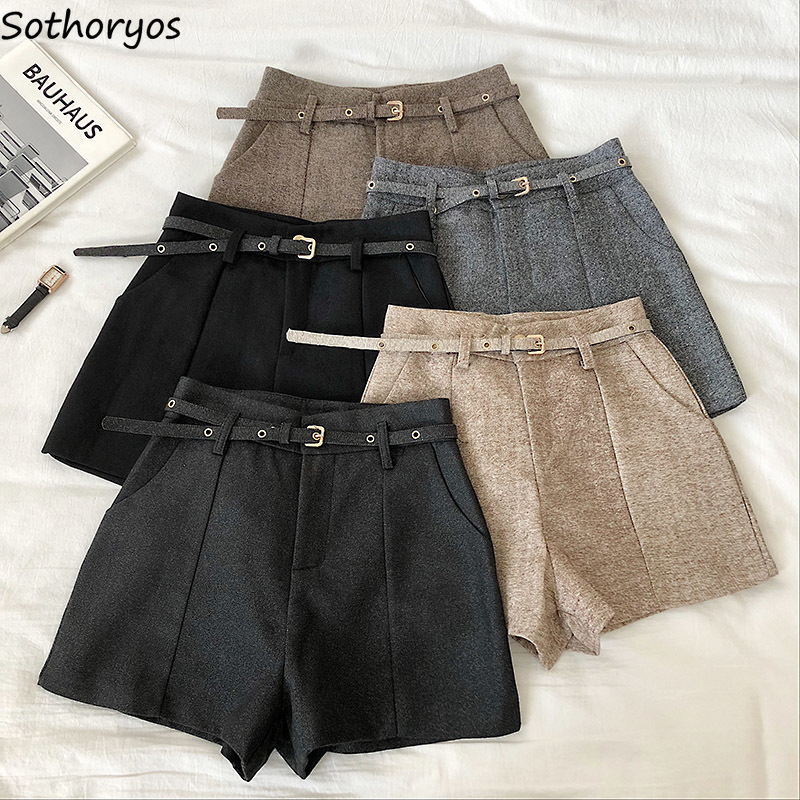Shorts Women Winter Sashes High-waist Solid Zipper Slim Korean Style Elegant All-match Students Office Ladies Chic Retro Ulzzang