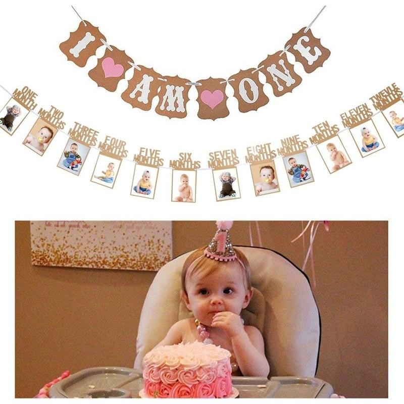 Bebê primeiro aniversário decorações banner eu sou um 1-12 meses foto banner para bebê menina/menino 1st festa de aniversário fornecimento