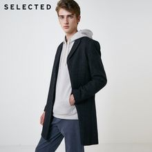 SELECTED New Autumn & Winter Wool Coat Men's Woolen Plaid Jacket Long Outwear S | 418427547(China)