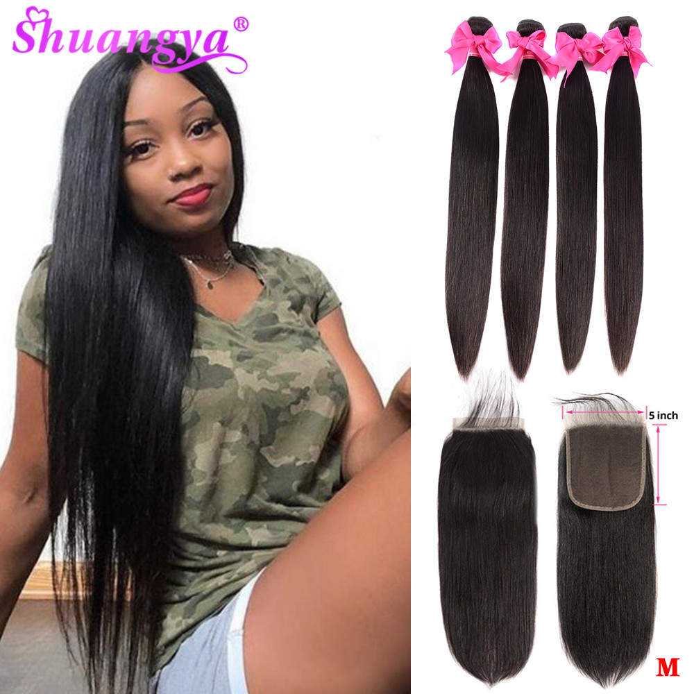 Indian Straight Hair Bundles With 5x5 Closure Human Hair 3 Bundles With Closure Natural Color Remy Hair Extension Shuangya Hair