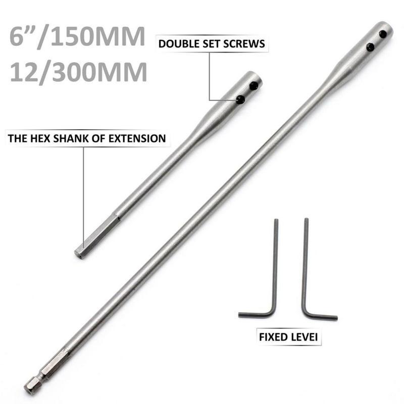 High carbon steel Extention bar Drill Bit 150//300mm Hex Shank Practical