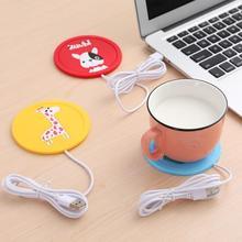 USB мультфильм USB древесины для подогрева чашек тепла чашка с двойными стенками коврик держать напиток теплым подогревателя кружки каботажное судно
