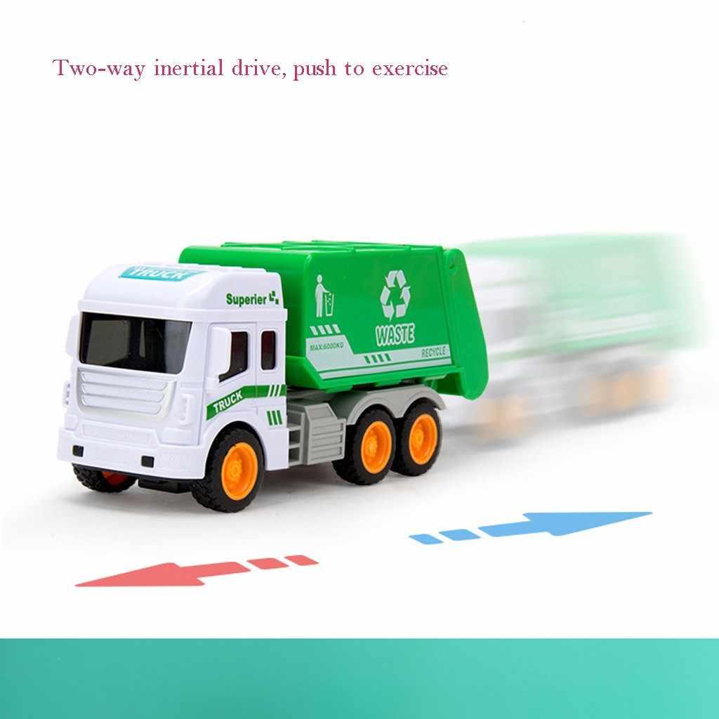 Simülasyon sanitasyon çöp kamyonu 4 çöp tenekesi 108 kart çocuklar erken eğitim atalet araba Model oyuncaklar çocuklar için hediyeler