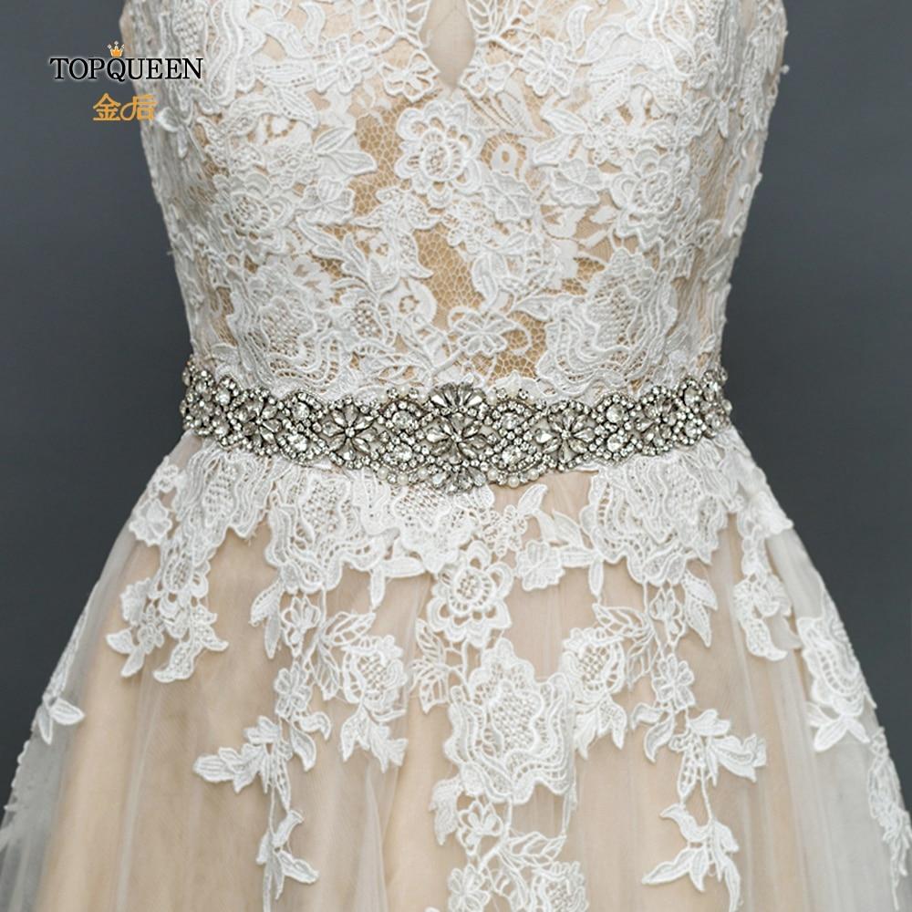 TOPQUEEN S161B Silver Diamond Belt Wedding Belt 21inch Fashion Wide Big Belt Jewelled Flowers Belt Wedding Belt Bride Rhinestone