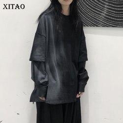 XITAO окрашенный хит цвет Толстовка Ложные две части размера плюс женская одежда 2020 Модный повседневный пуловер Длинный рукав Топ DMY3020