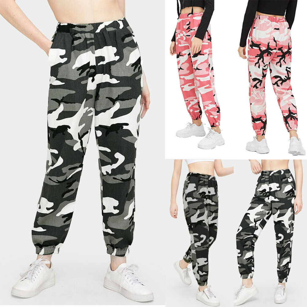 Hot Women's Camouflage Pants Cargo Camo Military Loose Elastic Waist Long Trousers Ladies Fashion Sport Casual Street Hip Hop
