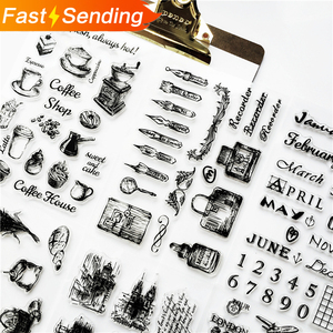 1pc Transparent silicone seal retro stamp Aircraft Tower Building clear stamps Office Supplies stamps DIY