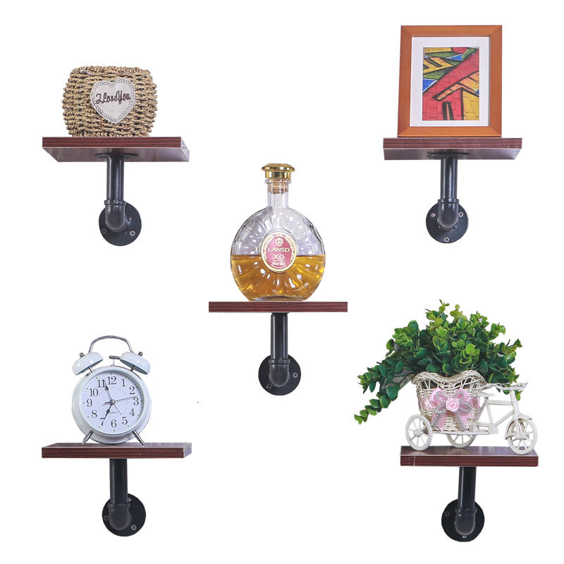 Water Pipe Rack Hanger Wall Hanging Meaty Green Luo Decorate Layer Plate Iron Art A Living Room Bookshelf One Word Shelf