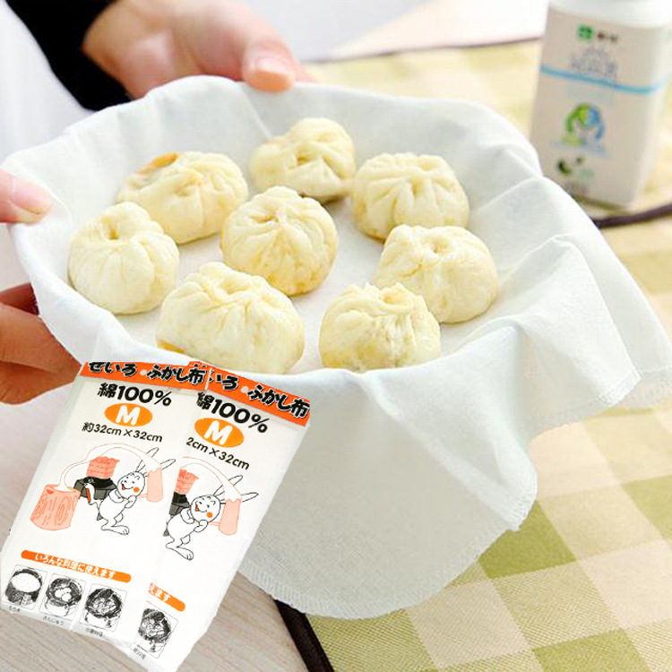 Cotton Steamer Cloth Steamed Bread Pad Kitchen Supplies Food Steamers Cloth Buns Paper Non-stick Steamer Gauze Tray