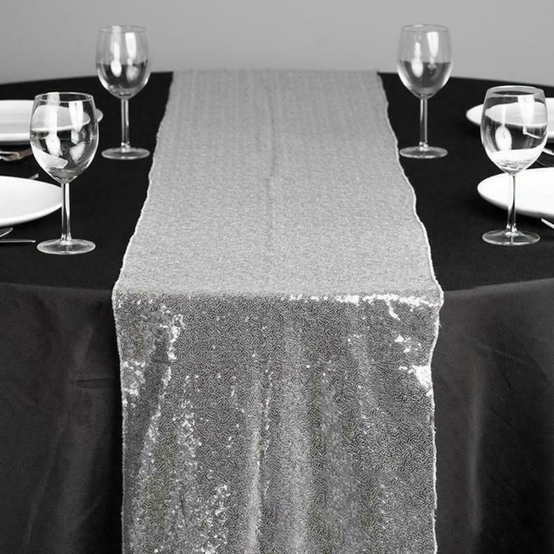 Luxury Silver Sparkling Tablecloth Champagne Glitter Sequin Table Runner For Wedding Birthday Party Table Decorations