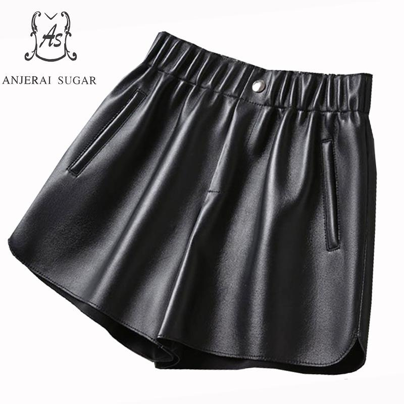 Spring Women Sheepskin Genuine Leather Shorts Bllack Bule Elastic High Waist Feminino Casual Loose Wide Leg Short Hot Shorts