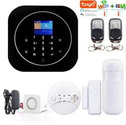 Yobang Secu Tuya APP sterowania bezprzewodowego bezpieczeństwa w domu WIFI GSM system antywłamaniowy dymu czujnik przeciwpożarowy rosyjski francuski hiszpański w Zestawy systemów alarmowych od Bezpieczeństwo i ochrona na