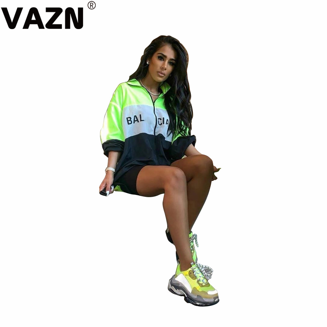 VAZN Chic product 2019 autumn sexy lady fluorescence green casual coats full sleeve zipper fly sport coats young girl chic coats on AliExpress