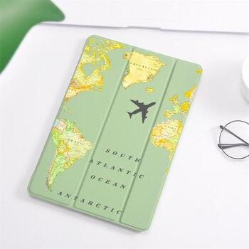 Mapa świata podróży iPad etui na ipada Mini 1 2 3 etui z miękkiego silikonu powrót Funda pokrowiec ochronny iPad 7. 8. Generacji etui Air 4