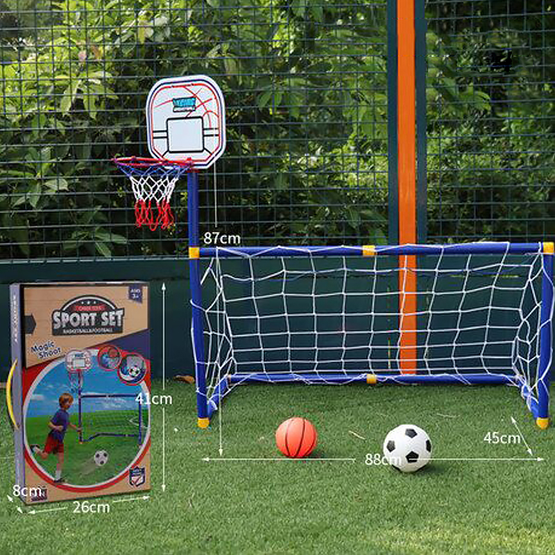 Children Basketball Hoop 2 In 1 Outdoor Sports Kids Football Goal Boys Soccer Toy Mini Basketball Training Practice Accessories(China)