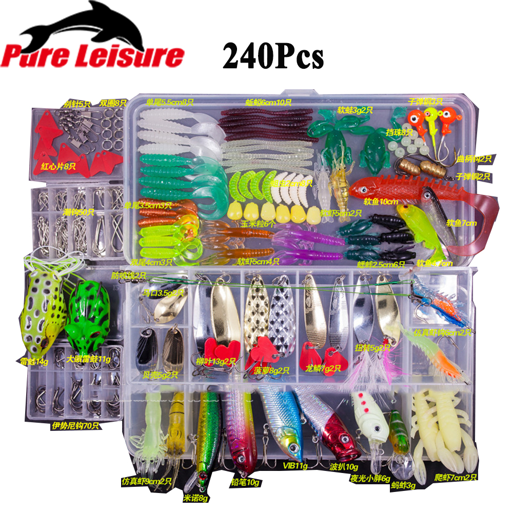 PureLeisure Fishing Lures Set 15/24/94/240Pcs Minnow Pilers Popper Hooks Fish Lure Kit In Box Isca Artificial Bait Fishing Gear