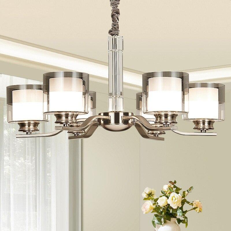 Modern Nickel Metal Led Chandeliers Lighting Living Room Crystal Led Pendant Chandelier Lamp Dining Room Hanging Lights Fixtures