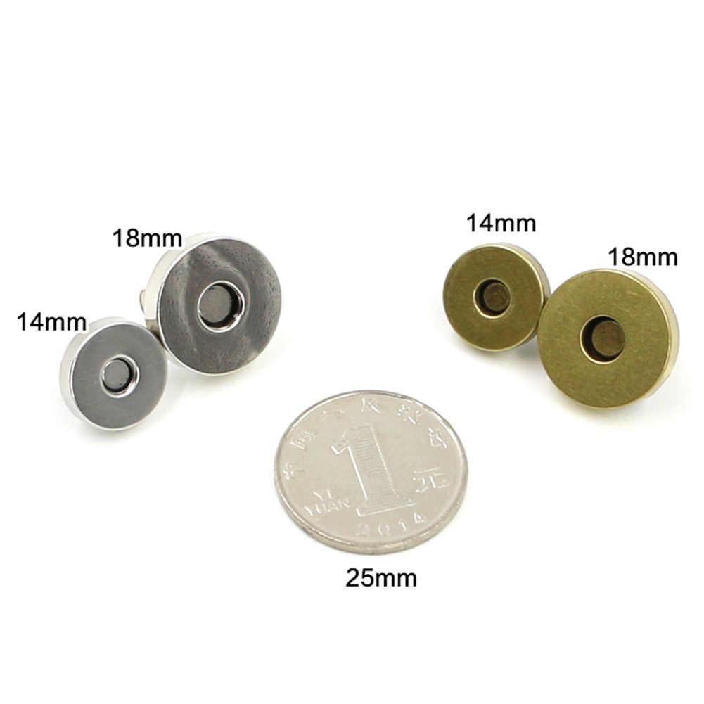 5 Pcs Magnetic Gesper Dompet Buncis Penutupan 14 Mm 18 Mm Bulat Tas Press Stud Jahit Kulit Kerajinan Pakaian tas Pakaian