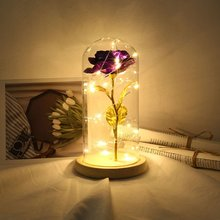 Rose Flower Light With Glass Cover Decoration Led Night Light Led Light Birthday Party Decoration Plastic Flower Drop Shipping